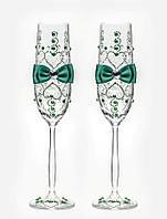 Свадебные бокалы, ручная работа, изумрудные, 2 шт (арт. SA-021011)
