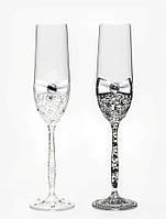 Свадебные бокалы, ручная работа, черный и белый цвет, 2 шт (арт. SA-021110)