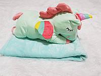 Игрушка подушка плед 3 в 1 Единорог голубой
