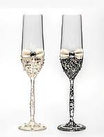Свадебные бокалы, ручная работа, айвори и черные, 2 шт (арт. SA-021133)