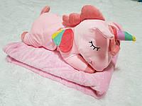 Игрушка подушка плед 3 в 1 Единорог розовый