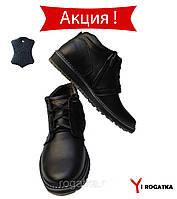 Мужские зимние кожаные ботинки, MAXUS, черные, прошитые