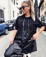 Туника женская стильная с кожей  41865, фото 1