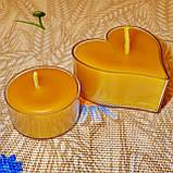 Восковая чайная свеча Валентинка 36г в пластиковом прозрачном контейнере, фото 4