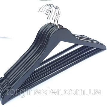 Вешалки 6шт деревянные в лакокрасочном покрытии черного цвета, 44см