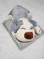 Игрушка подушка плед 3 в 1 Собака Grey