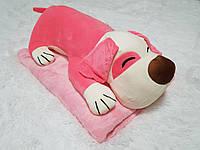 Игрушка подушка плед 3 в 1 Собака Pink, фото 1