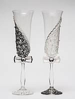 """Свадебные бокалы """"Асимметрия 2"""", ручная работа, черный и белый цвет, 2 шт (арт. SA-21710)"""