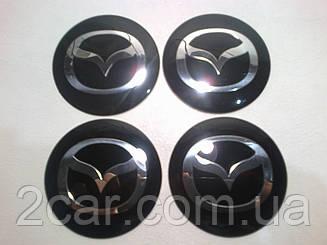 Наклейка выпуклая на колпачок диска Mazda 56 мм черная