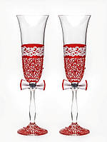 "Свадебные бокалы ""Аппликация 3"", ручная работа, красные, 2 шт (арт. SA-2184)"