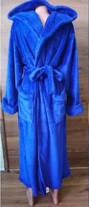 Мужской махровый халат синего цвета с капюшоном 48-58 р