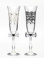 Свадебные бокалы, ручная работа, белый и черный цвет, 2 шт (арт. SA-2211)