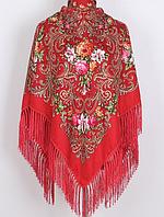 Народний хустку Людмила, 135х135 см, червоний