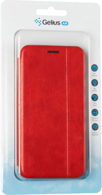 Чехол книжка на Huawei Y5 (2019) красный кожаный защитный чехол Gelius для телефона.