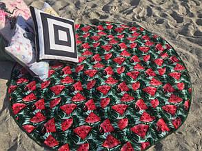 "Пляжное круглое полотенце 150х150см велюр-махра. Турция, ""Арбуз1"""