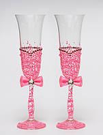 """Свадебные бокалы """"Ажур"""", ручная работа, розовые, 2 шт (арт. SA-2217)"""
