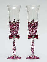 "Свадебные бокалы ""Ажур"", ручная работа, бордовые, 2 шт (арт. SA-229)"