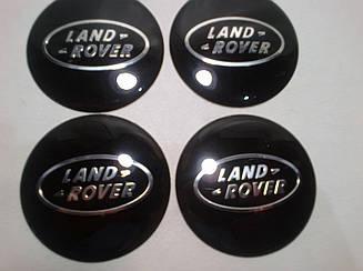 Наклейка выпуклая на колпачок диска Land Rover 65 мм черная
