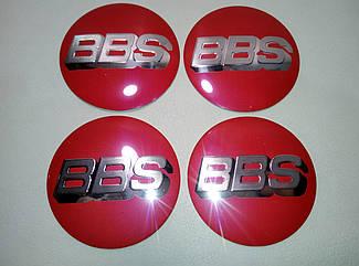 Наклейка выпуклая на колпачок диска BBS 56 мм красная