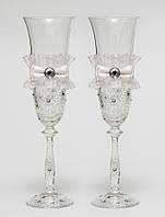 "Свадебные бокалы ""Винтажный шик"", ручная работа, белые, 2 шт (арт. SA-231)"