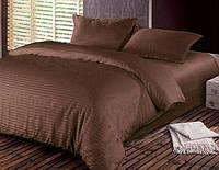 Шоколадный Комплект постельного белья в полоску страйп-сатин ЕВРО простынь на резинке