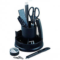 Набор настольный KLERK поворотный 360, 13 предметов, черный пластик KL0830