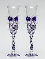 """Свадебные бокалы """"Винтажный шик"""", ручная работа, фиолетовые, 2 шт (арт. SA-235)"""