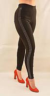 Джинсы женские черные с полосой из бисера от S до XXXL Джеггинсы с лампасами - маломерка