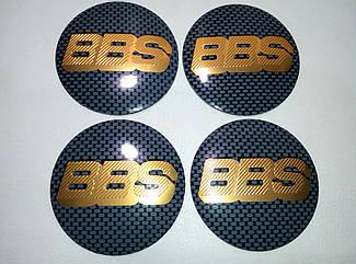 Наклейка выпуклая на колпачок диска BBS 56 мм карбон