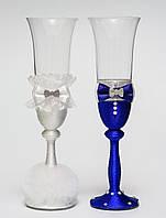 """Свадебные бокалы """"Клеопатра"""", ручная работа, белый и синий цвет, 2 шт (арт. SA-31)"""