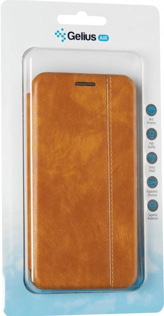 Чехол книжка на Xiaomi Redmi 7 коричневый кожаный защитный чехол Gelius для телефона.