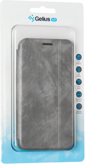 Чехол книжка на Xiaomi Redmi Note 8 Pro серый кожаный защитный чехол Gelius для телефона.