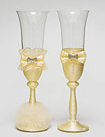 "Свадебные бокалы ""Клеопатра"", ручная работа, айвори, 2 шт (арт. SA-33)"