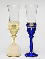 """Свадебные бокалы """"Клеопатра"""", ручная работа, айвори и синий цвет, 2 шт (арт. SA-36)"""