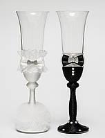 """Свадебные бокалы """"Клеопатра"""", ручная работа, черный и белый цвет, 2 шт (арт. SA-37)"""