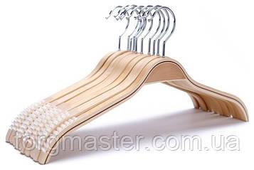 Вешалки 5шт деревянные с антискользящими накладками, 42см