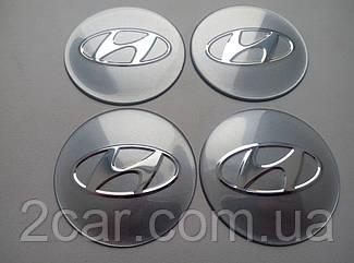 Наклейка выпуклая на колпачок диска Hyundai 65 мм серая
