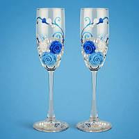 Свадебные бокалы, ручная работа, синий цвет, 2 шт (арт. TL-1104), фото 1