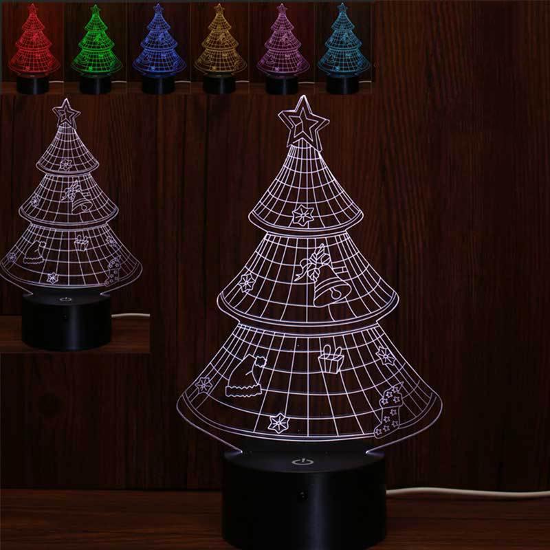 Настільний світильник 3D Різдвяна ялинка