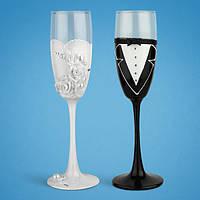 Свадебные бокалы, ручная работа, белый и черный цвет, 2 шт (арт. TL-1405)