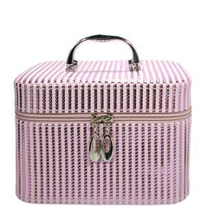 49440 чемодан Полосатый Metalic Stripes светло-розовый средний с ручкой