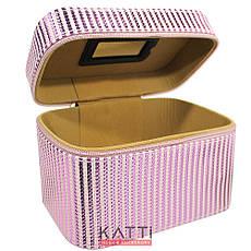 49440 чемодан Полосатый Metalic Stripes светло-розовый средний с ручкой, фото 2