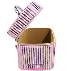 49440 чемодан Полосатый Metalic Stripes светло-розовый средний с ручкой, фото 3