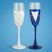 Свадебные бокалы, ручная работа, белый и синий цвет, 2 шт (арт. TL-1407)