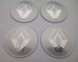 Наклейка выпуклая на колпачок диска Renault 65 мм серая