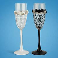 Свадебные бокалы, ручная работа, белый и черный цвет, 2 шт (арт. TL-1420), фото 1