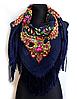 Народный платок Мария, 110х110 см, индиго