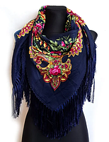 Народный платок Мария, 110х110 см, индиго, фото 1
