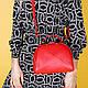 Женская сумочка из натуральной кожи красного цвета, фото 4