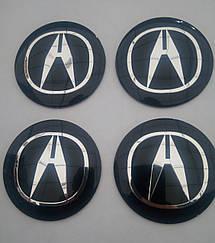 Наклейка выпуклая на колпачок диска Acura 56 мм черная